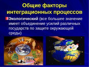 Общие факторы интеграционных процессов Экологический (все большее значение им