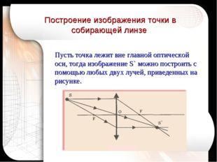 Построение изображения точки в собирающей линзе Пусть точка лежит вне главной