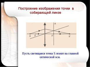 Построение изображения точки в собирающей линзе Пусть светящаяся точка S лежи