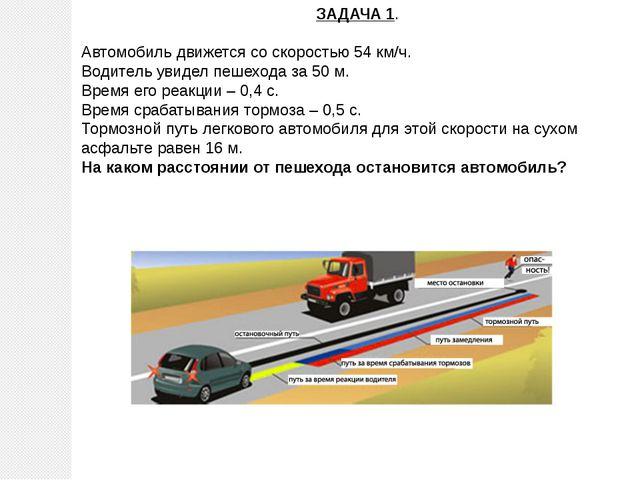 ЗАДАЧА 1. Автомобиль движется со скоростью 54 км/ч. Водитель увидел пешехода...