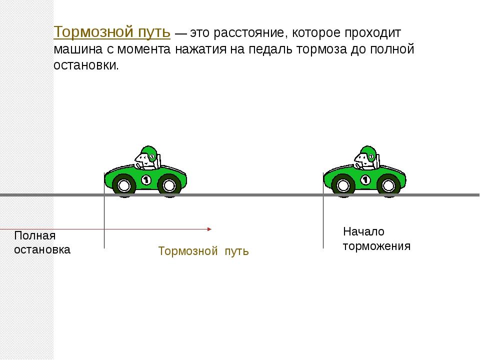Тормозной путь — это расстояние, которое проходит машина с момента нажатия на...