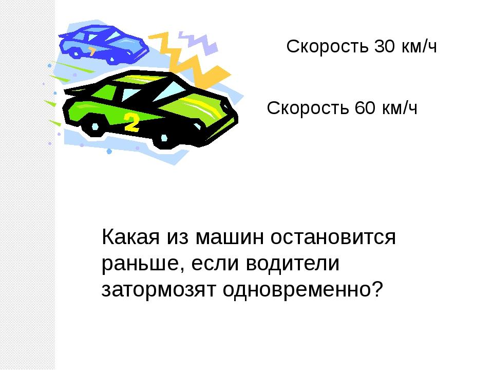 Скорость 30 км/ч Скорость 60 км/ч Какая из машин остановится раньше, если вод...