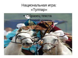 Национальная игра: «Тулпар»