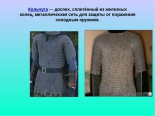Кольчуга — доспех, сплетённый из железных колец,металлическая сеть для защит