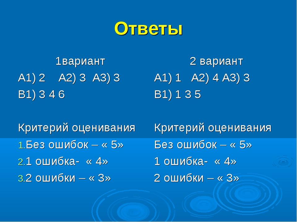 Ответы 1вариант А1) 2 А2) 3 А3) 3 В1) 3 4 6 Критерий оценивания Без ошибок –...