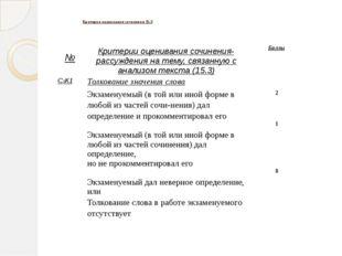 Критерии оценивания сочинения 15.3 № Критерии оценивания сочинения-рассужден