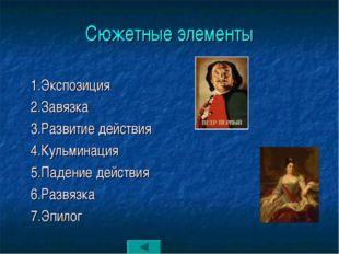 Сюжетные элементы 1.Экспозиция 2.Завязка 3.Развитие действия 4.Кульминация 5.