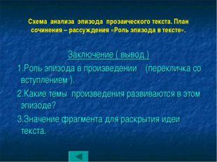 Схема анализа эпизода прозаического текста. План сочинения – рассуждения «Рол