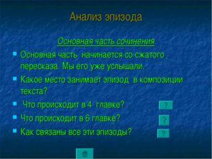 Анализ эпизода Основная часть сочинения Основная часть начинается со сжатого
