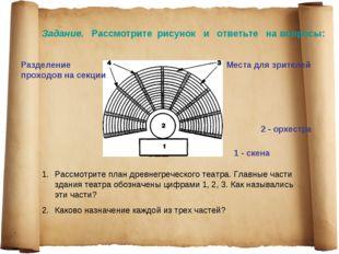 Рассмотрите план древнегреческого театра. Главные части здания театра обознач