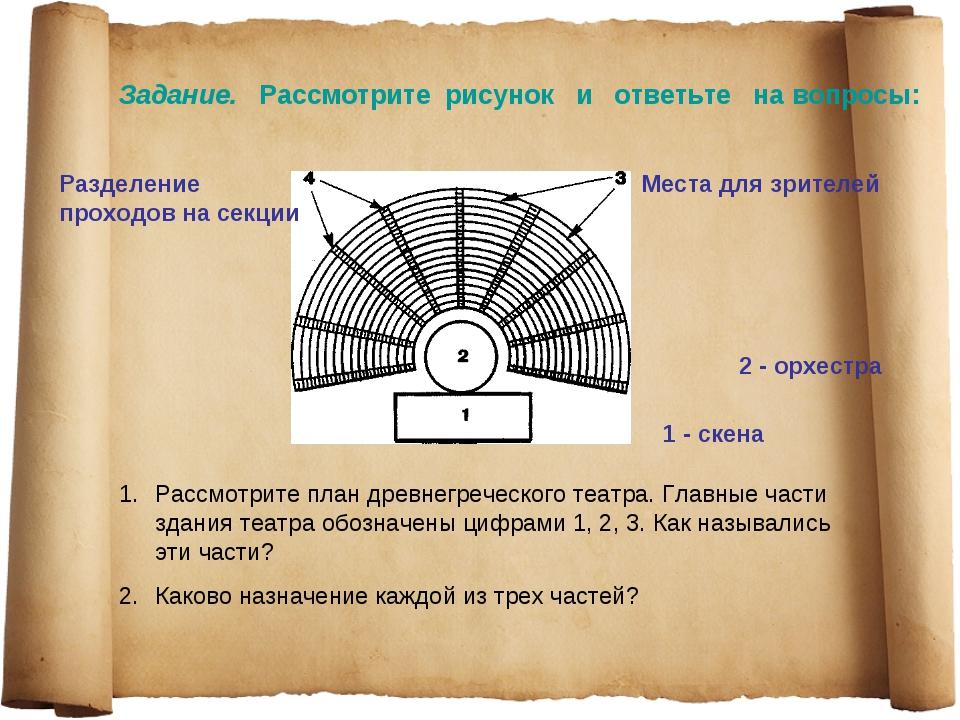 Рассмотрите план древнегреческого театра. Главные части здания театра обознач...