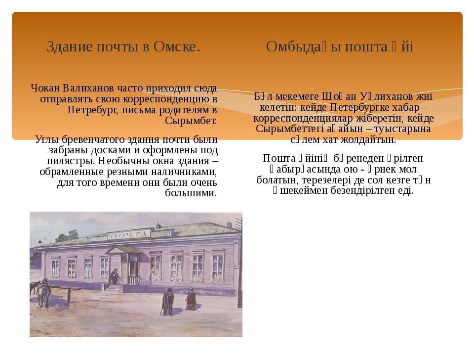 Здание почты в Омске. Чокан Валиханов часто приходил сюда отправлять свою кор...