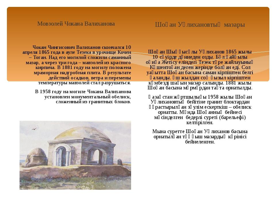 Мовзолей Чокана Валиханова Чокан Чингисович Валиханов скончался 10 апреля 186...