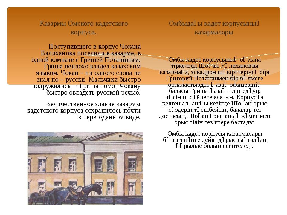 Казармы Омского кадетского корпуса. Поступившего в корпус Чокана Валиханова п...