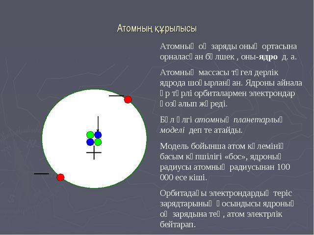 Атомның құрылысы Атомның оң заряды оның ортасына орналасқан бөлшек , оны-ядро...