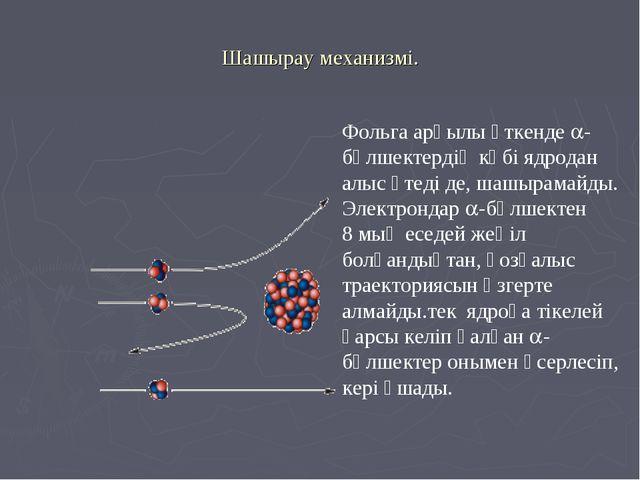 Шашырау механизмі. Фольга арқылы өткенде -бөлшектердің көбі ядродан алыс өте...