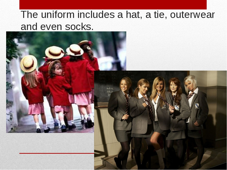 The uniform includes a hat, a tie, outerwear and even socks.