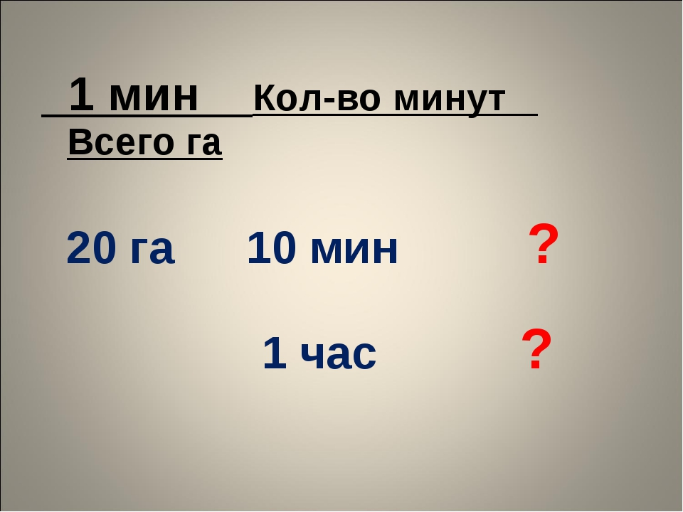 1 мин Кол-во минут Всего га  20 га10 мин ?  1 час?
