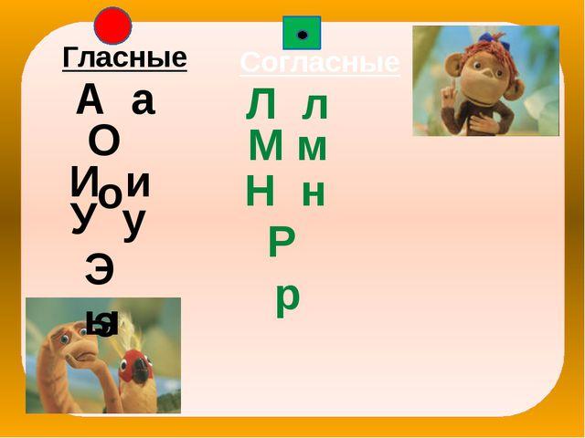 Гласные Согласные А а О о И и У у Э э ы Л л М м Н н Р р
