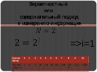 Вероятностный или содержательный подход к измерению информации =>i=1 бит Кол-