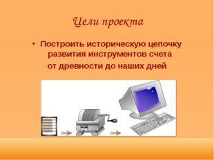 Цели проекта Построить историческую цепочку развития инструментов счета от др