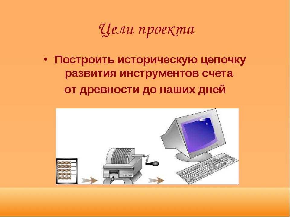 Цели проекта Построить историческую цепочку развития инструментов счета от др...