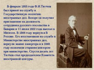 В феврале 1855 года Ф.И.Тютчев был принят на службу в Государственную коллеги
