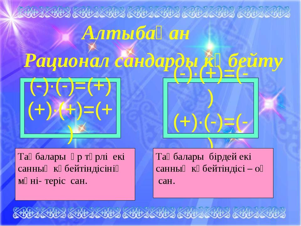 Алтыбақан Рационал сандарды көбейту (-)·(+)=(-) (+)·(-)=(-) (-)·(-)=(+) (+)·(...