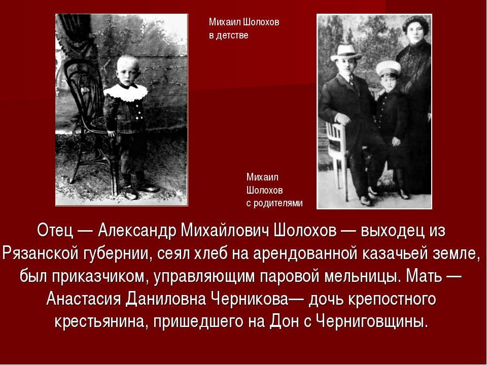 Отец— Александр Михайлович Шолохов — выходец из Рязанской губернии, сеял хл...