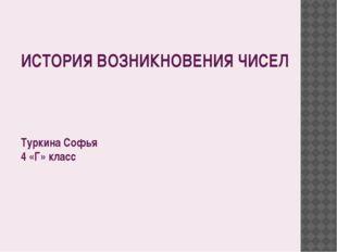 ИСТОРИЯ ВОЗНИКНОВЕНИЯ ЧИСЕЛ Туркина Софья 4 «Г» класс План презентации: Счет