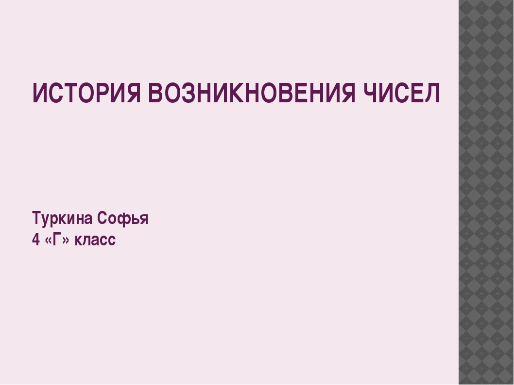 ИСТОРИЯ ВОЗНИКНОВЕНИЯ ЧИСЕЛ Туркина Софья 4 «Г» класс План презентации: Счет...