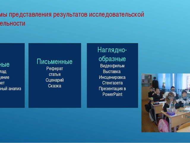 Формы представления результатов исследовательской деятельности Устные Доклад...