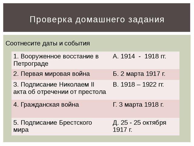 Проверка домашнего задания Соотнесите даты и события 1. Вооруженное восстание...