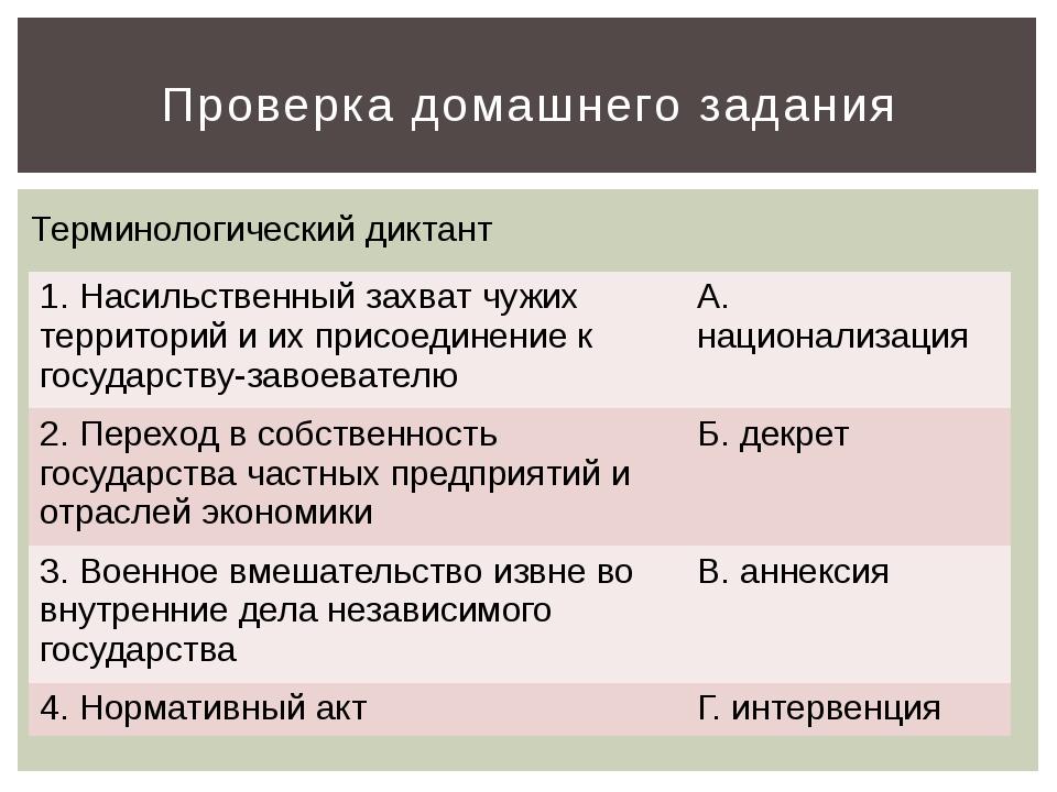Проверка домашнего задания Терминологический диктант 1. Насильственный захват...