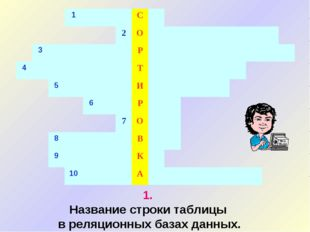 1. Название строки таблицы в реляционных базах данных.
