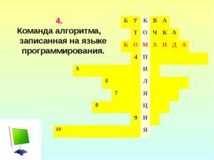 4. Команда алгоритма, записанная на языке программирования. БУКВА