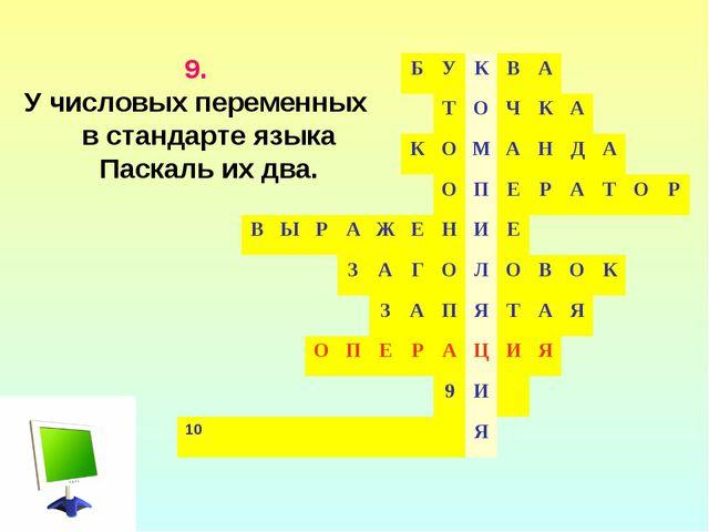 9. У числовых переменных в стандарте языка Паскаль их два. БУКВА...