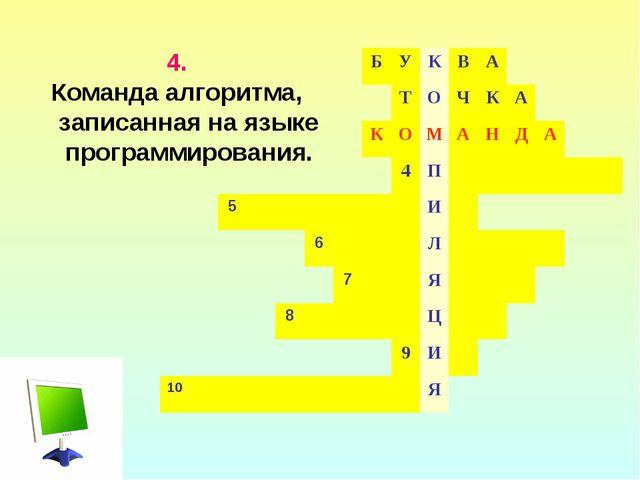 4. Команда алгоритма, записанная на языке программирования. БУКВА...