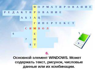 6. Основной элемент WINDOWS. Может содержать текст, рисунок, числовые данные