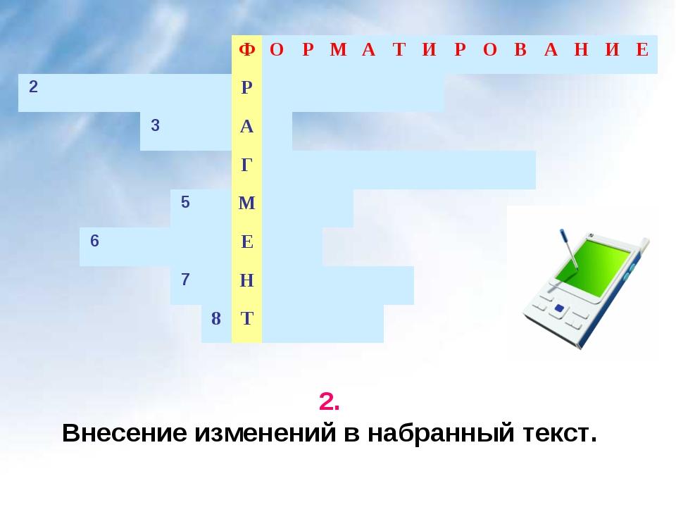 2. Внесение изменений в набранный текст. ФОРМАТИРОВАНИЕ 2...