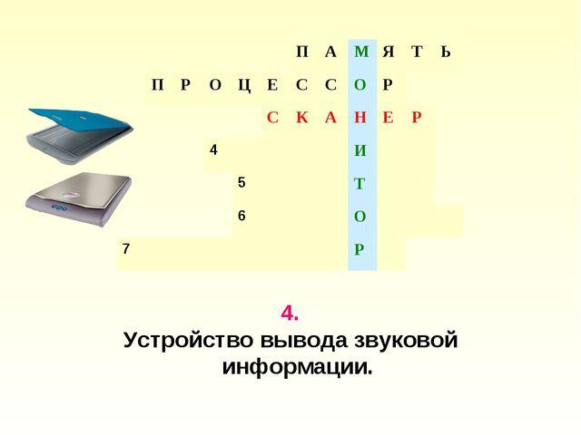 4. Устройство вывода звуковой информации. ПАМЯТЬ ПРОЦЕССО...