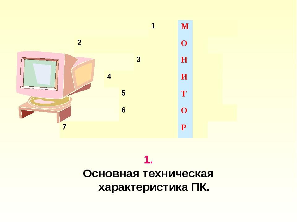 1. Основная техническая характеристика ПК. 1М 2О 3...