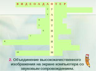 2. Объединение высококачественного изображения на экране компьютера со звуков