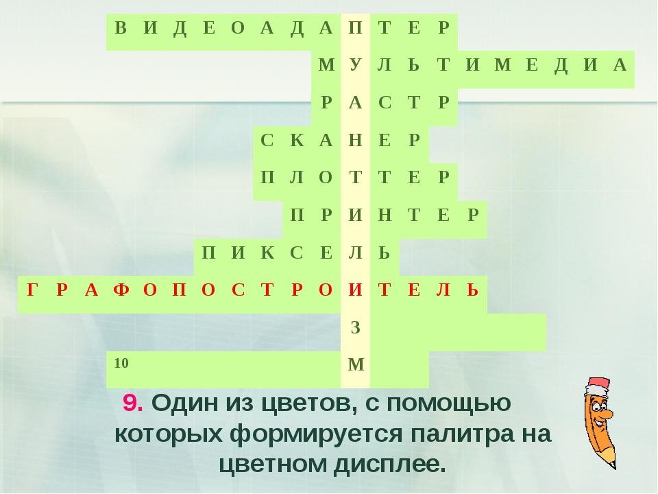 9. Один из цветов, с помощью которых формируется палитра на цветном дисплее.