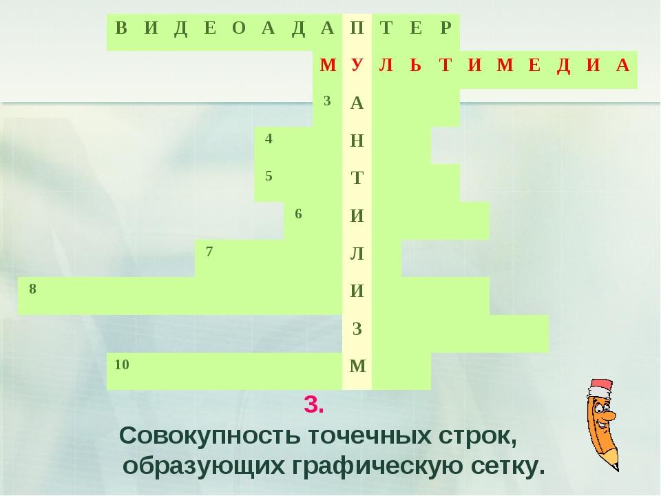 3. Совокупность точечных строк, образующих графическую сетку.