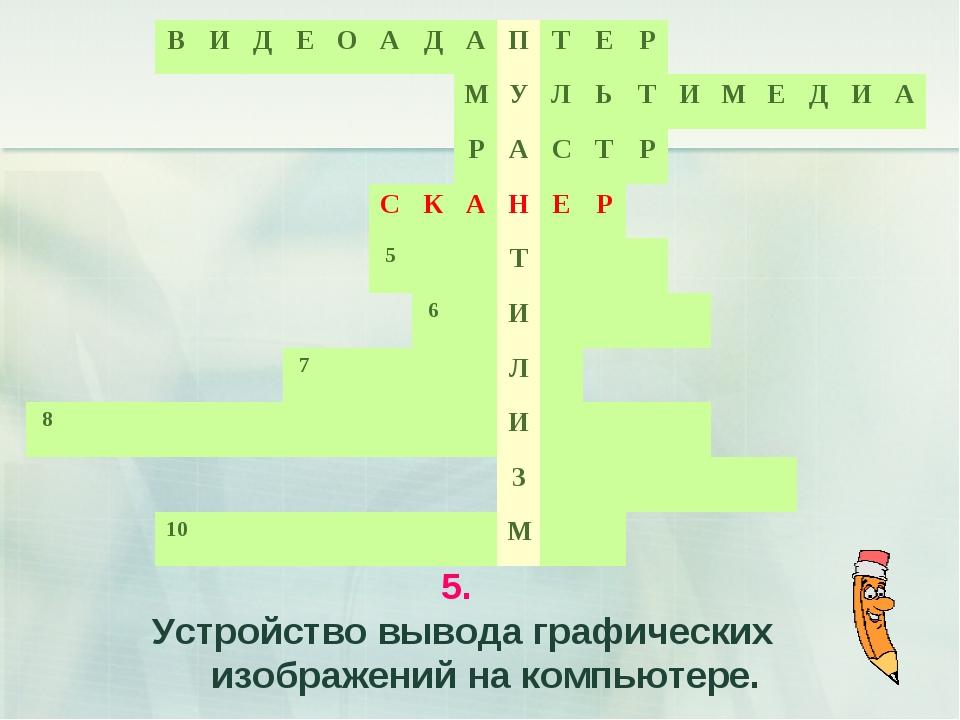 5. Устройство вывода графических изображений на компьютере.