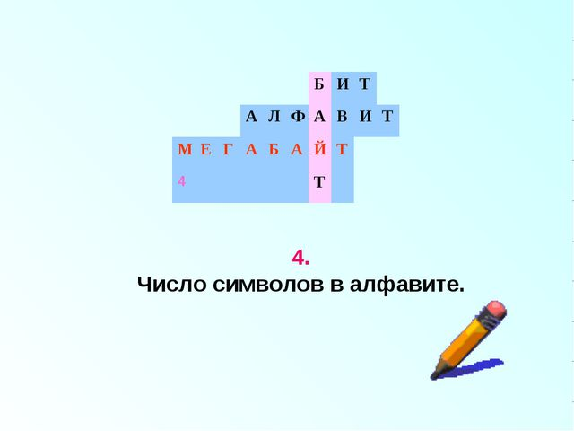 4. Число символов в алфавите. БИТ АЛФАВИТ МЕГАБАЙТ...
