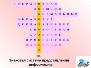 10. Знаковая система представления информации. ОПЕРАТИВНАЯ