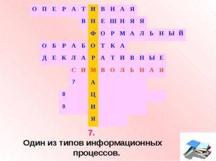7. Один из типов информационных процессов. ОПЕРАТИВНАЯ В