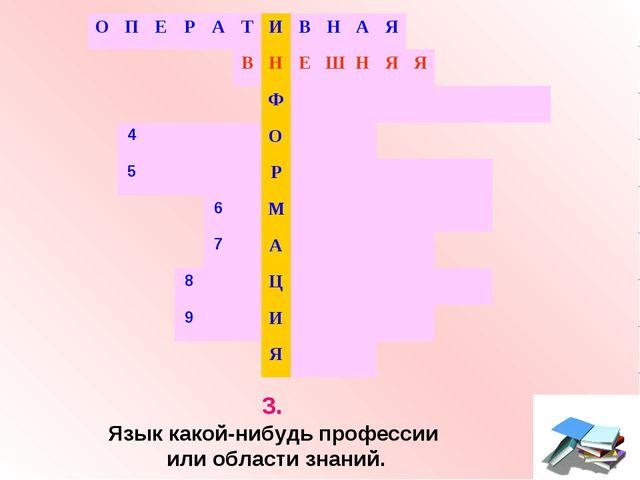 3. Язык какой-нибудь профессии или области знаний. ОПЕРАТИВНАЯ...